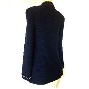 St. John Collection Jackets & Coats - St John Boucle Texture Knit Navy Jacket Blazer 8 M